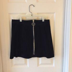 Black structured suede Zara high waisted skirt